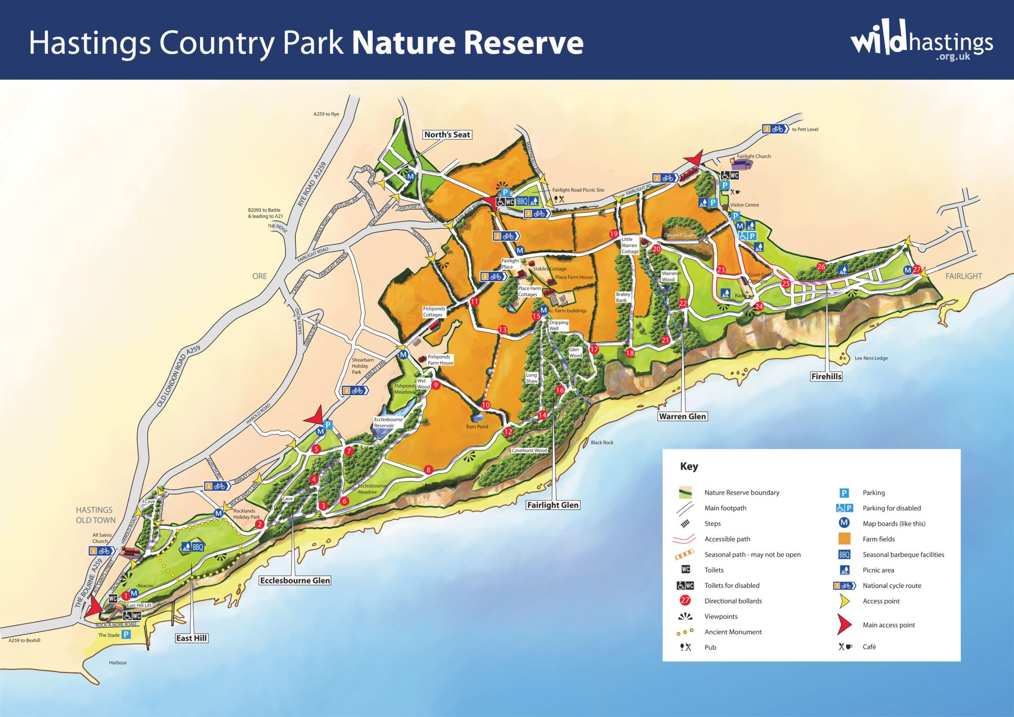 A map of Hastings Country Park